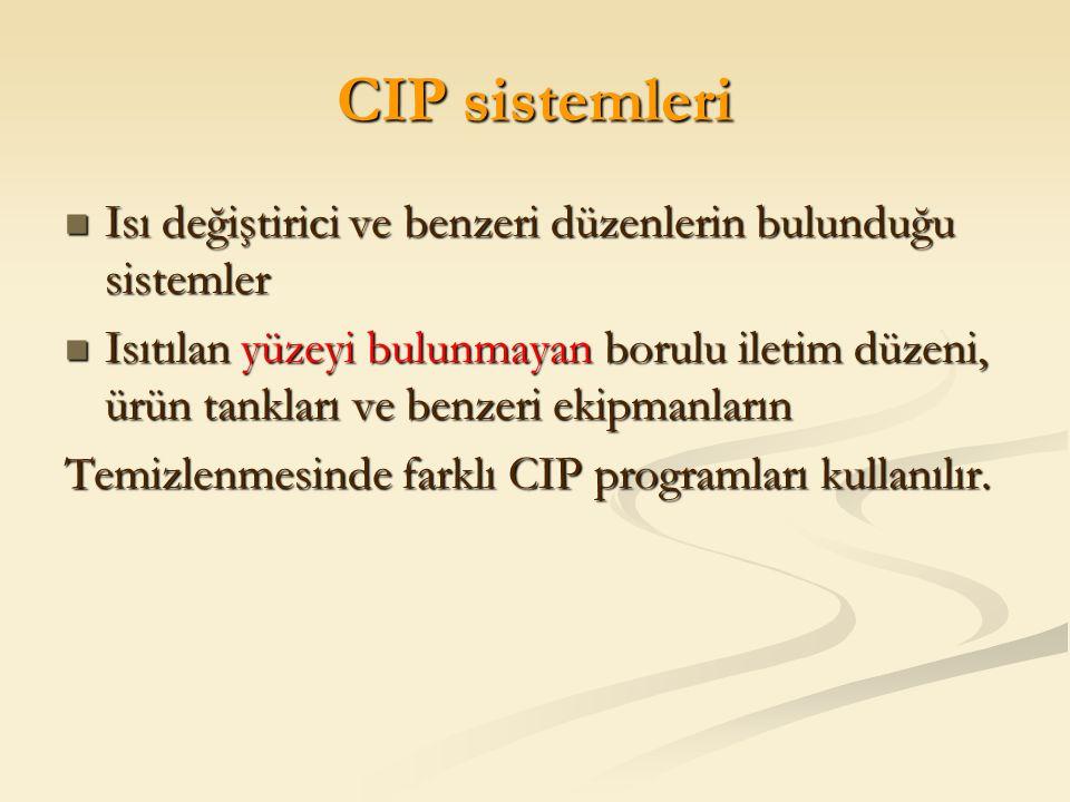 CIP sistemleri Isı değiştirici ve benzeri düzenlerin bulunduğu sistemler.