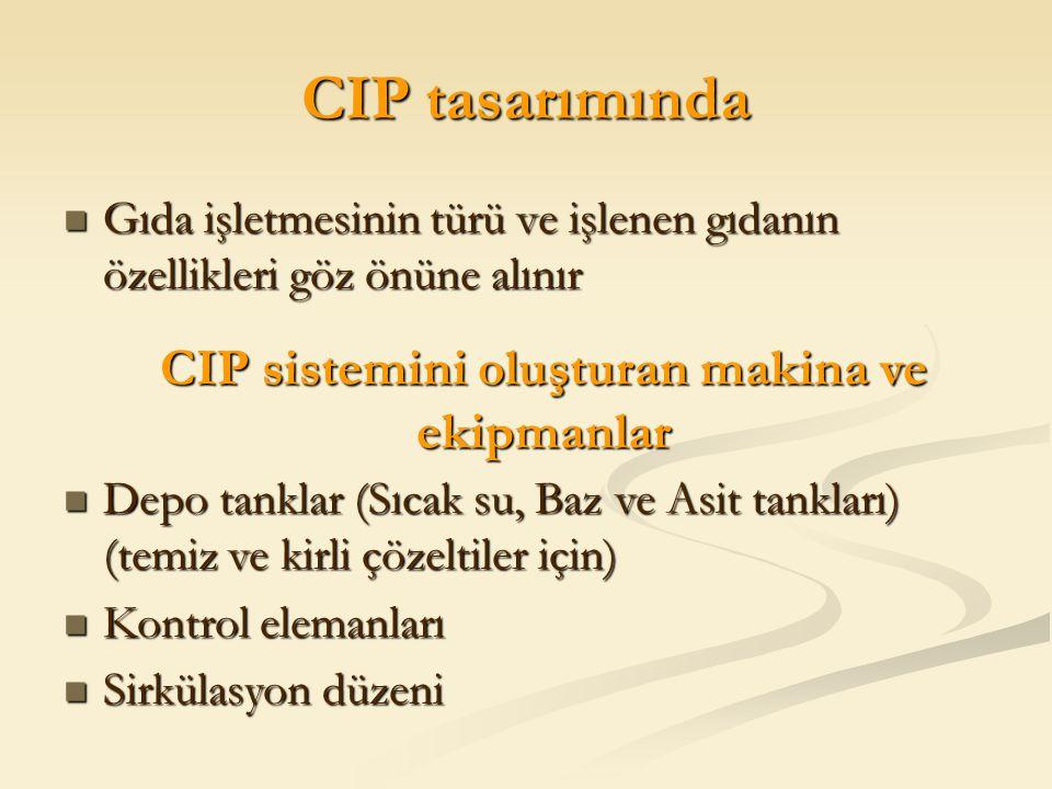 CIP sistemini oluşturan makina ve ekipmanlar
