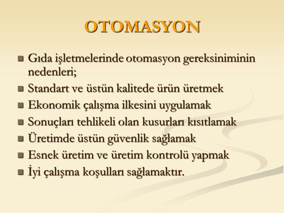 OTOMASYON Gıda işletmelerinde otomasyon gereksiniminin nedenleri;