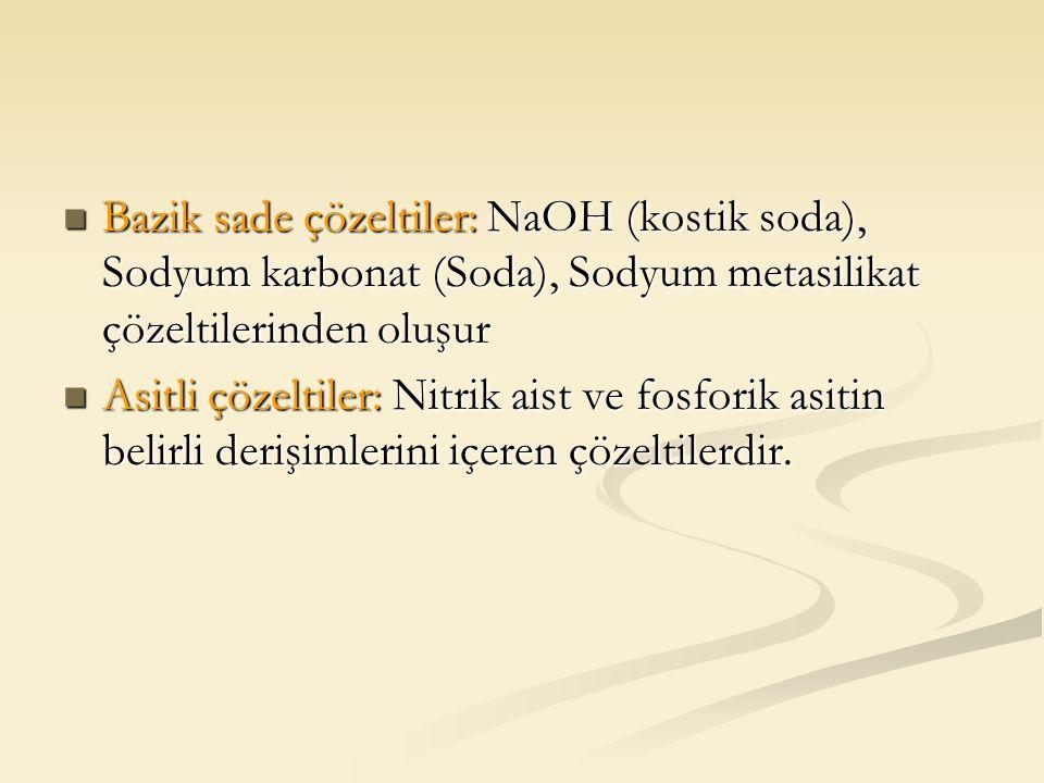 Bazik sade çözeltiler: NaOH (kostik soda), Sodyum karbonat (Soda), Sodyum metasilikat çözeltilerinden oluşur