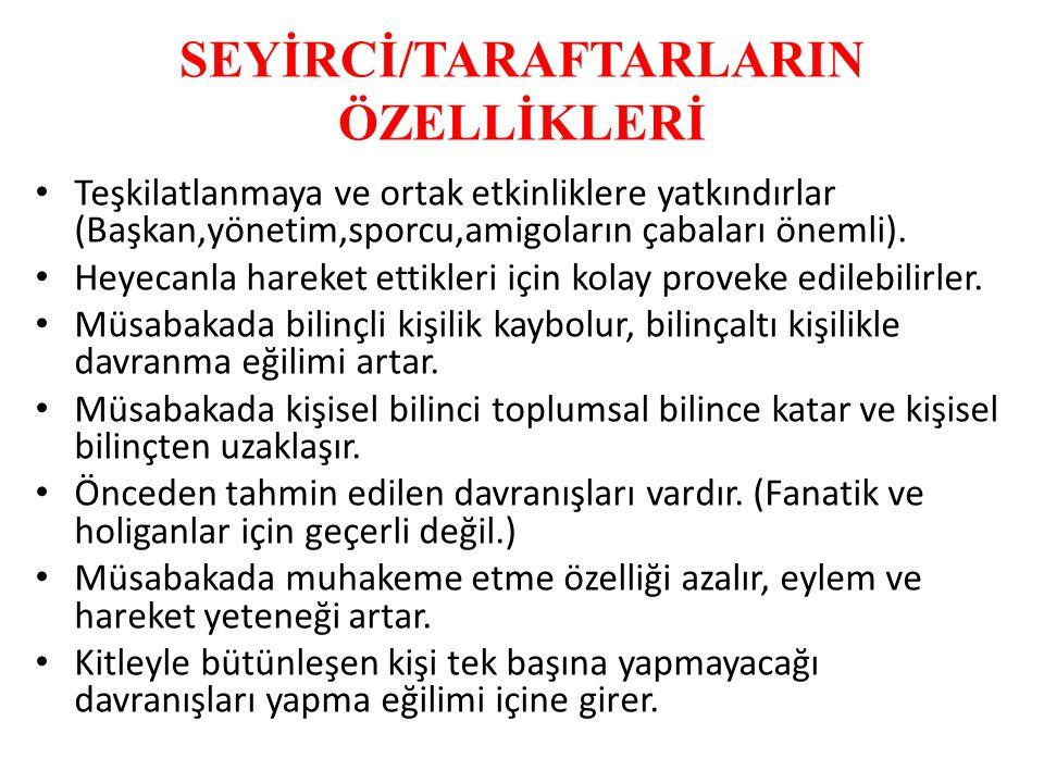 SEYİRCİ/TARAFTARLARIN ÖZELLİKLERİ