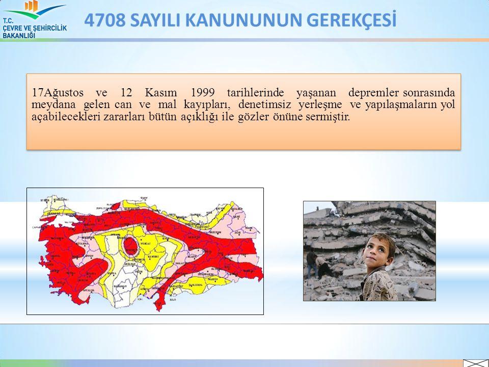17Ağustos ve 12 Kasım 1999 tarihlerinde yaşanan depremler sonrasında meydana gelen can ve mal kayıpları, denetimsiz yerleşme ve yapılaşmaların yol açabilecekleri zararları bütün açıklığı ile gözler önüne sermiştir.