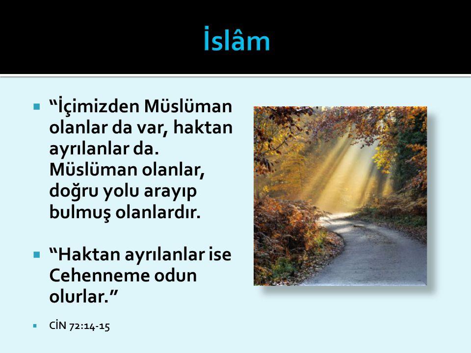 İslâm İçimizden Müslüman olanlar da var, haktan ayrılanlar da. Müslüman olanlar, doğru yolu arayıp bulmuş olanlardır.