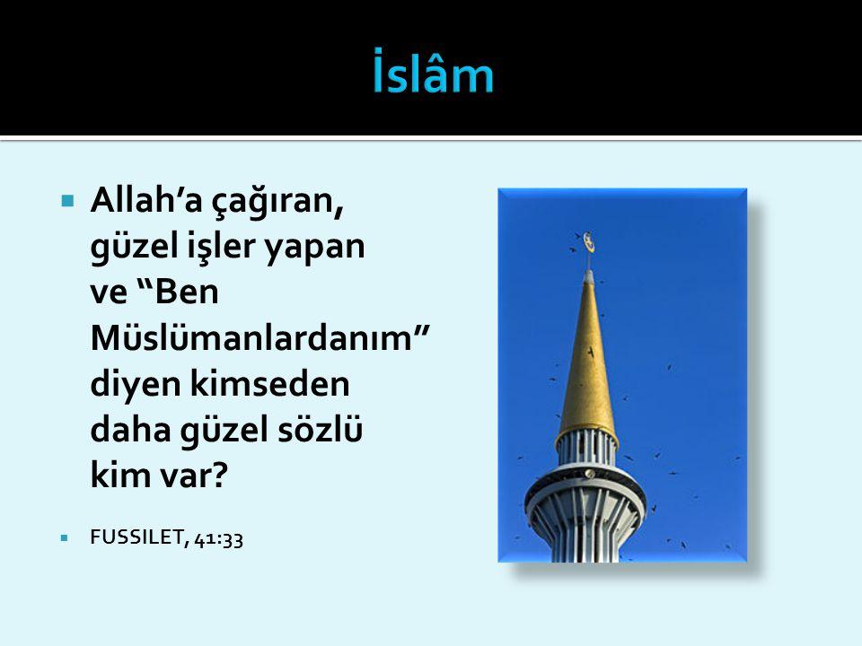 İslâm Allah'a çağıran, güzel işler yapan ve Ben Müslümanlardanım diyen kimseden daha güzel sözlü kim var