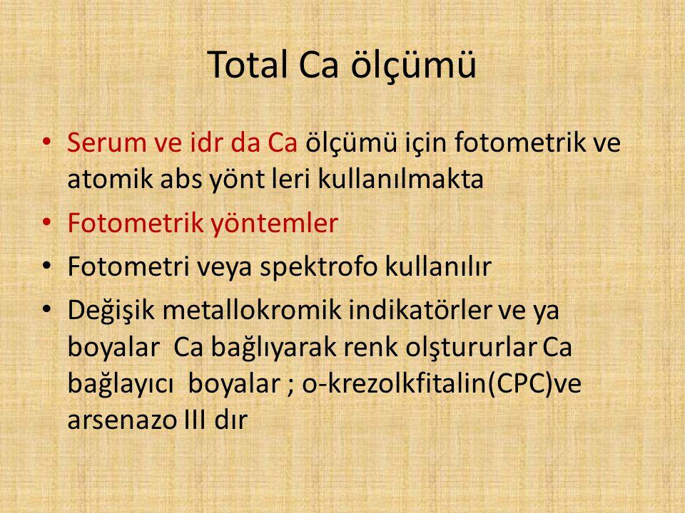 Total Ca ölçümü Serum ve idr da Ca ölçümü için fotometrik ve atomik abs yönt leri kullanılmakta. Fotometrik yöntemler.