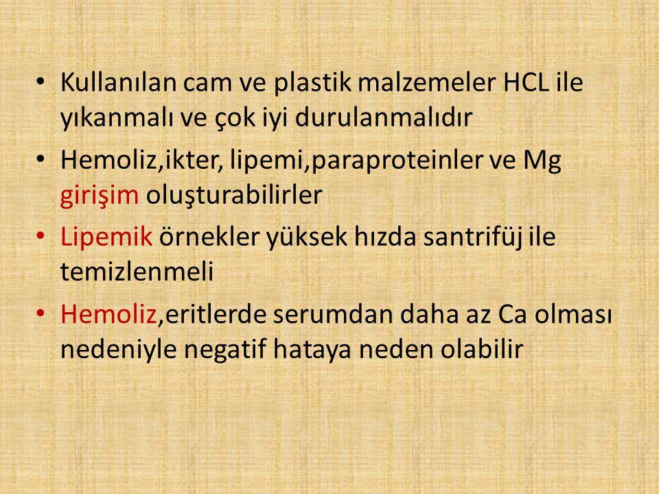 Kullanılan cam ve plastik malzemeler HCL ile yıkanmalı ve çok iyi durulanmalıdır