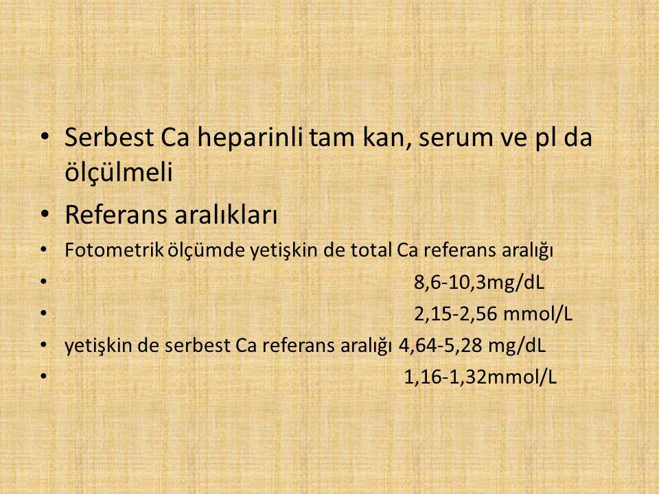 Serbest Ca heparinli tam kan, serum ve pl da ölçülmeli