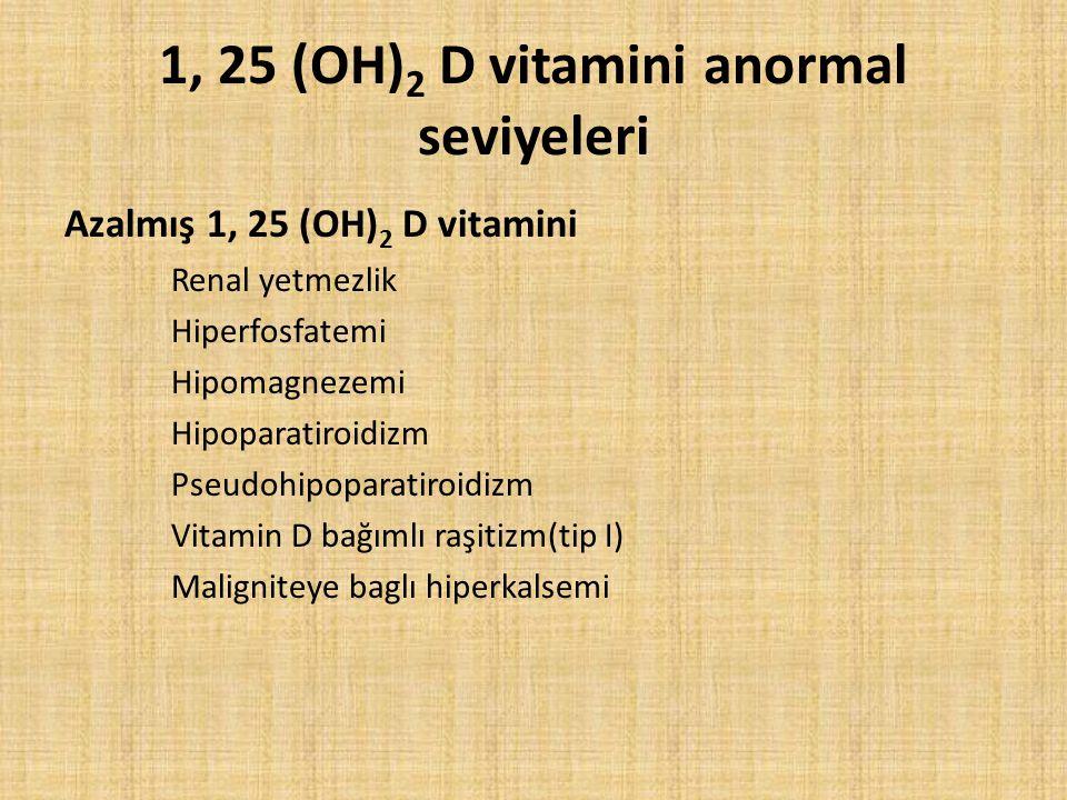 1, 25 (OH)2 D vitamini anormal seviyeleri