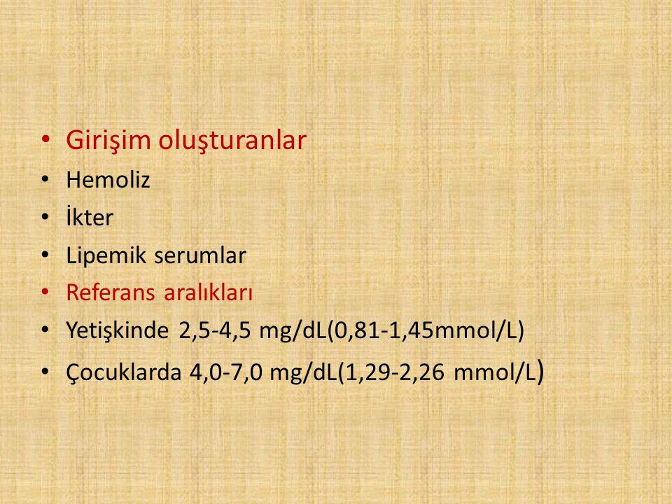Girişim oluşturanlar Hemoliz İkter Lipemik serumlar