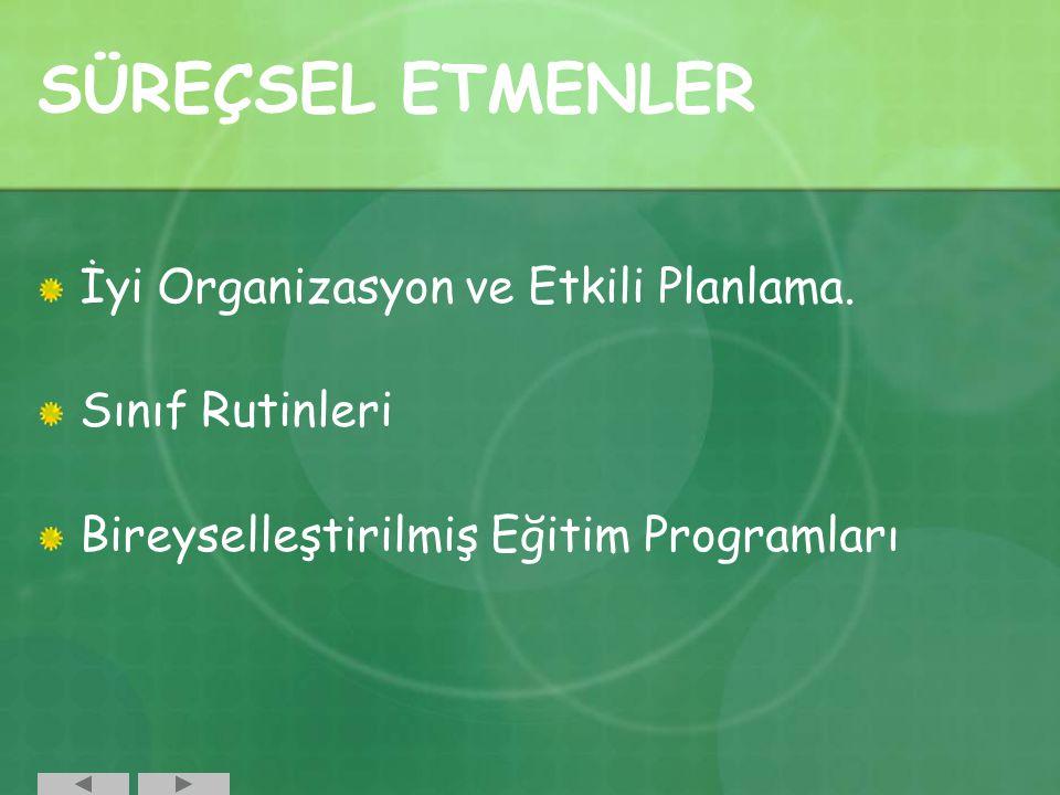 SÜREÇSEL ETMENLER İyi Organizasyon ve Etkili Planlama. Sınıf Rutinleri