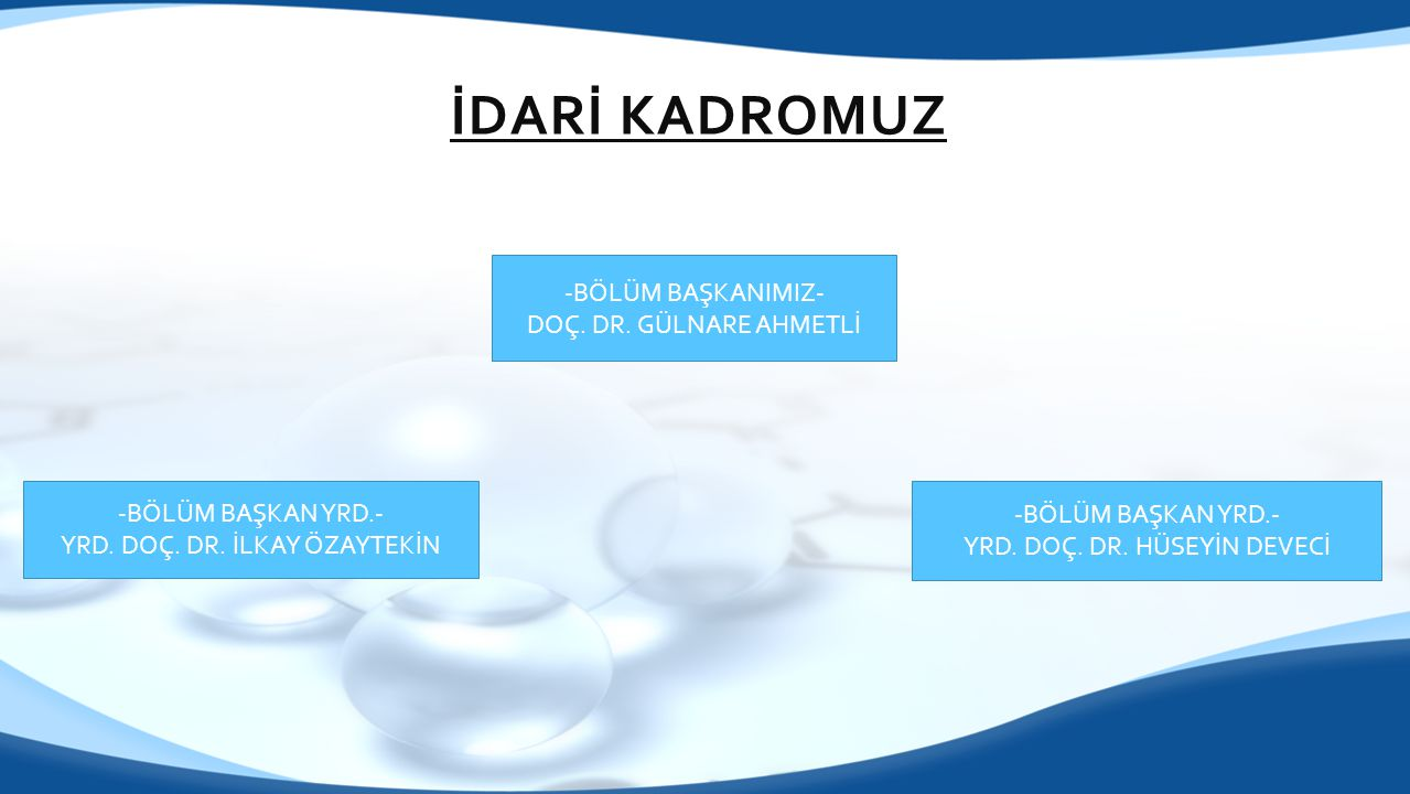 İDARİ KADROMUZ -BÖLÜM BAŞKANIMIZ- DOÇ. DR. GÜLNARE AHMETLİ