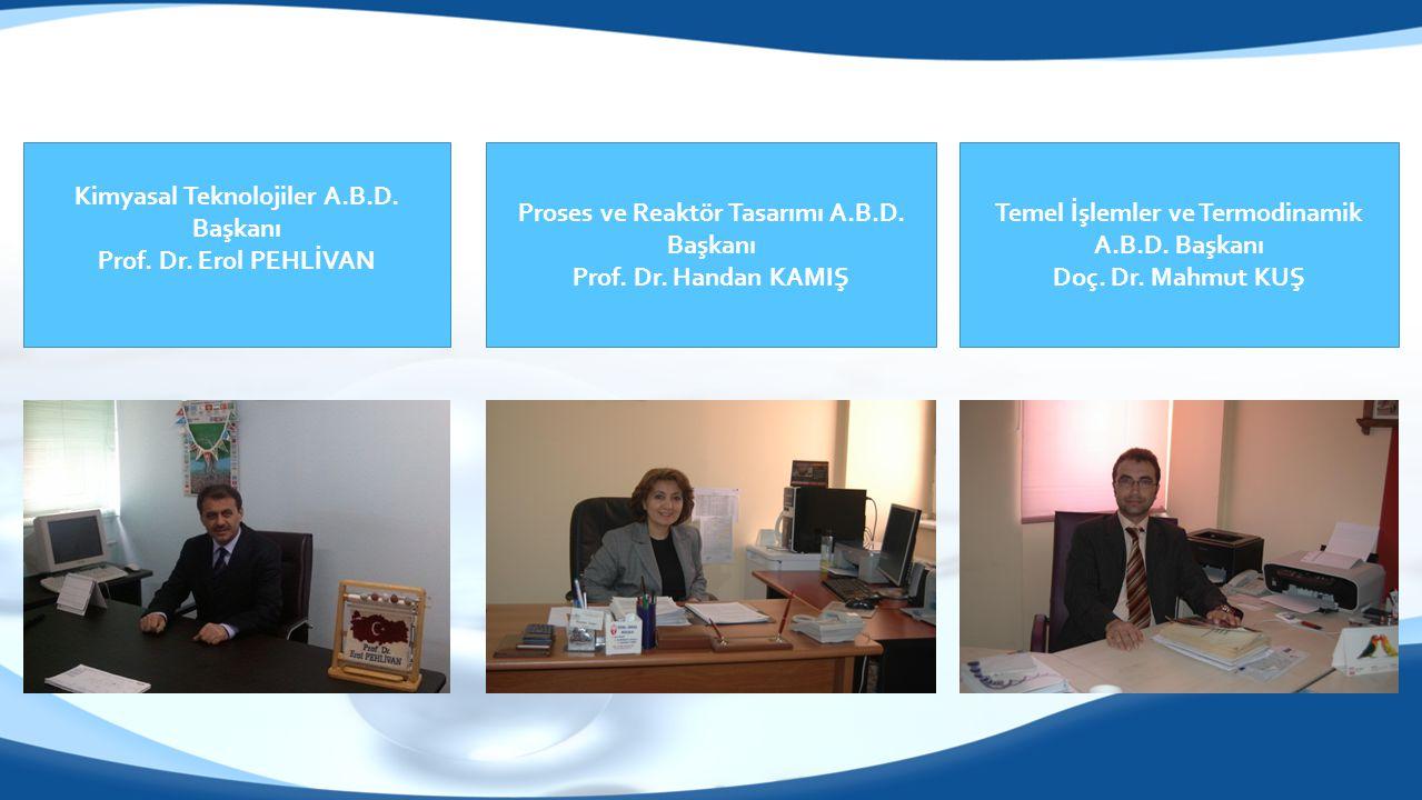 Kimyasal Teknolojiler A.B.D. Başkanı Prof. Dr. Erol PEHLİVAN