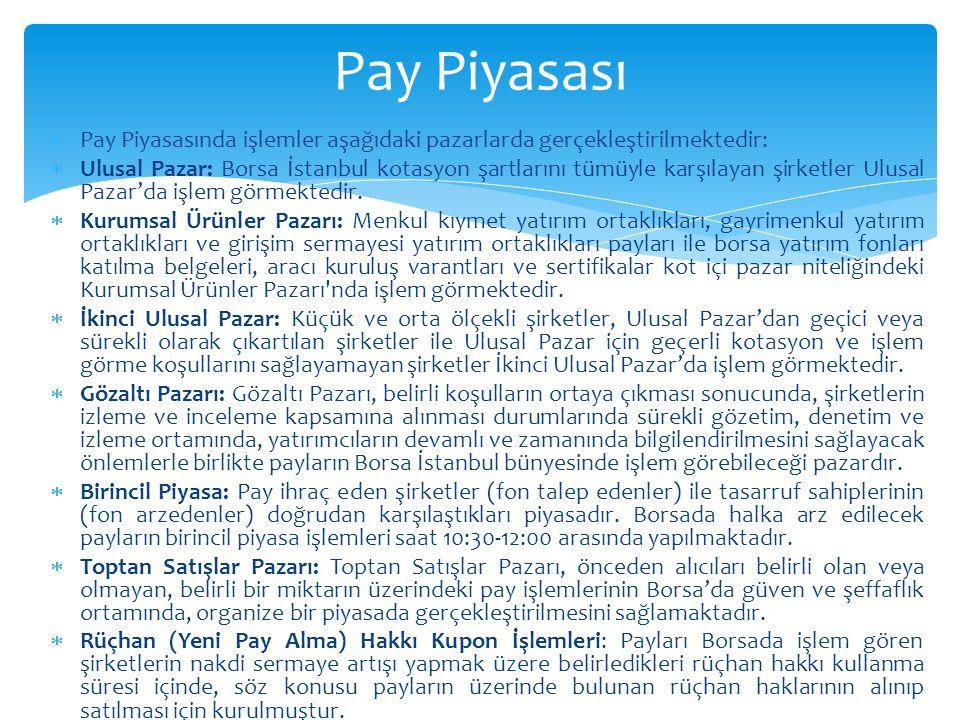 Pay Piyasası Pay Piyasasında işlemler aşağıdaki pazarlarda gerçekleştirilmektedir: