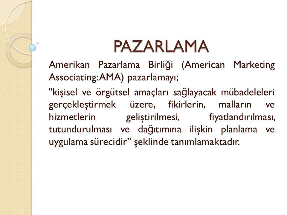 PAZARLAMA Amerikan Pazarlama Birliği (American Marketing Associating: AMA) pazarlamayı;