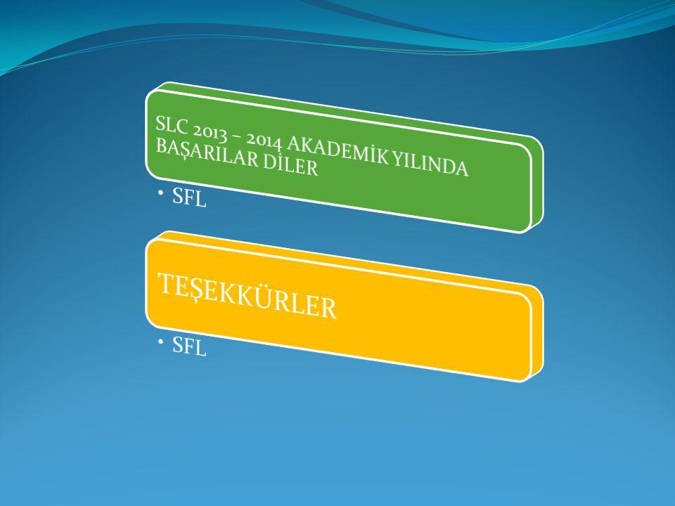SLC 2013 – 2014 AKADEMİK YILINDA BAŞARILAR DİLER
