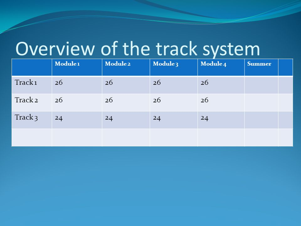 Overview of the track system