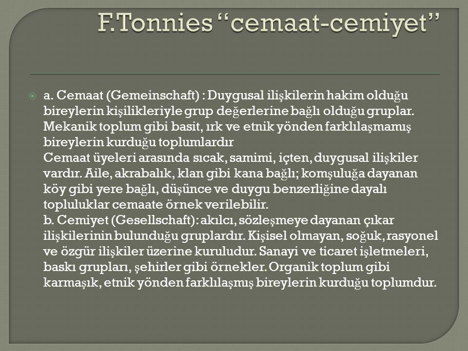 F.Tonnies cemaat-cemiyet