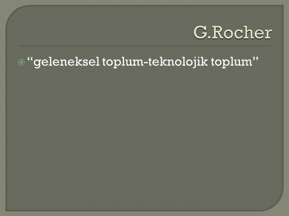 G.Rocher geleneksel toplum-teknolojik toplum