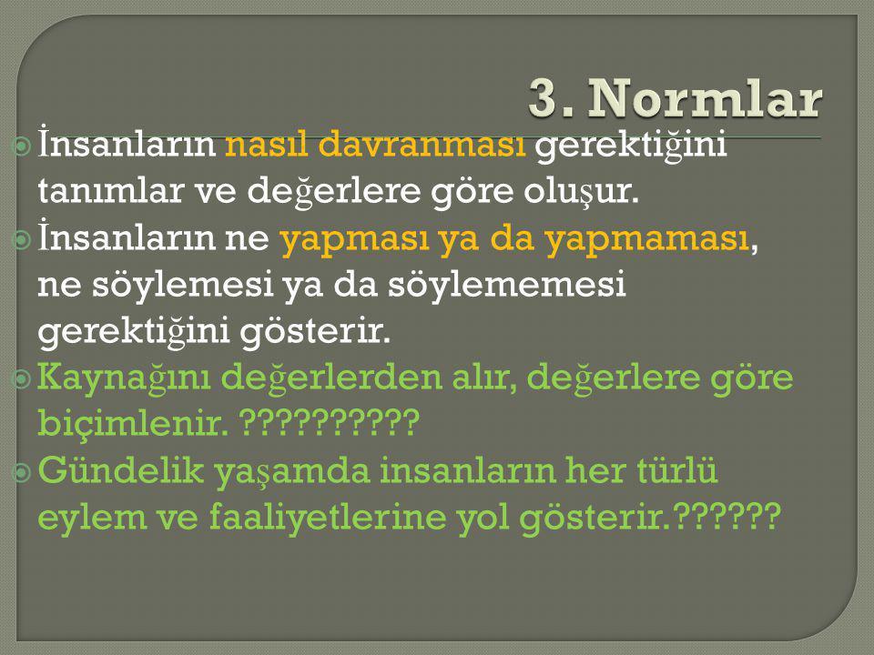 3. Normlar İnsanların nasıl davranması gerektiğini tanımlar ve değerlere göre oluşur.