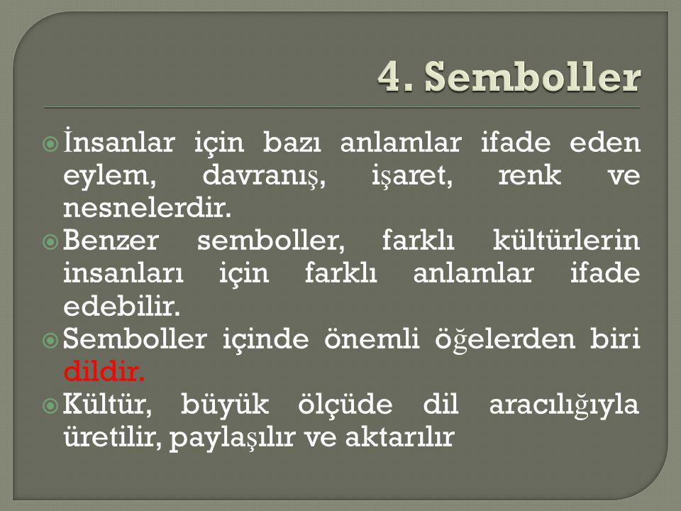 4. Semboller İnsanlar için bazı anlamlar ifade eden eylem, davranış, işaret, renk ve nesnelerdir.