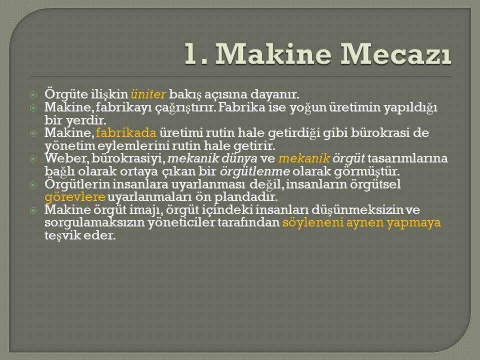 1. Makine Mecazı Örgüte ilişkin üniter bakış açısına dayanır.