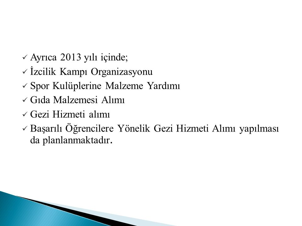 Ayrıca 2013 yılı içinde; İzcilik Kampı Organizasyonu. Spor Kulüplerine Malzeme Yardımı. Gıda Malzemesi Alımı.