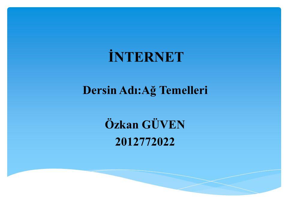 Dersin Adı:Ağ Temelleri Özkan GÜVEN 2012772022