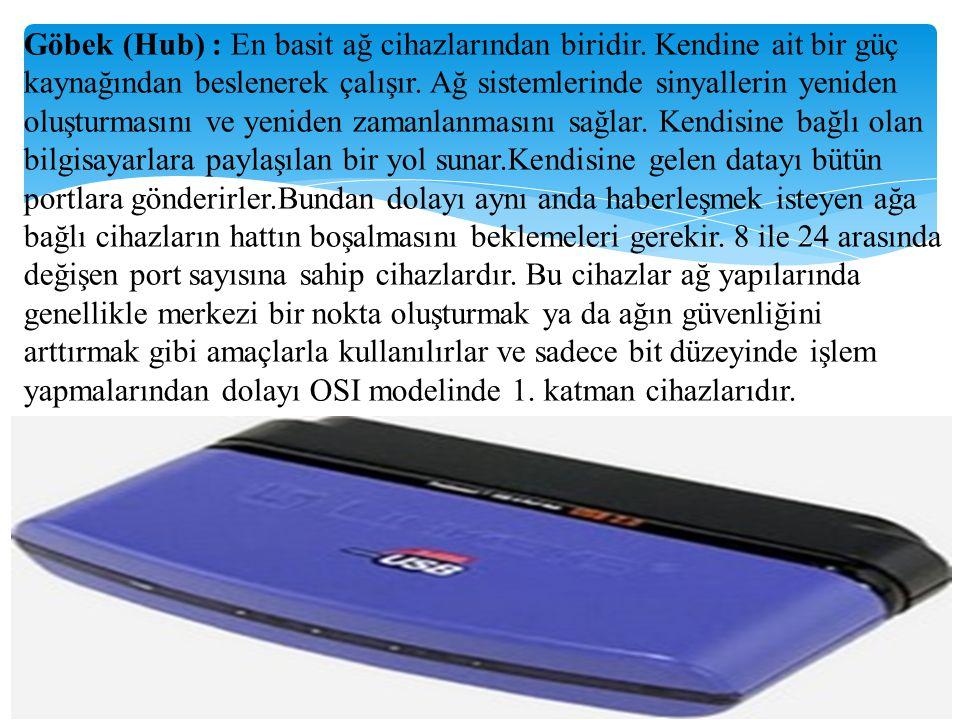 Göbek (Hub) : En basit ağ cihazlarından biridir