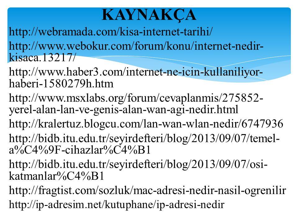 KAYNAKÇA http://webramada.com/kisa-internet-tarihi/