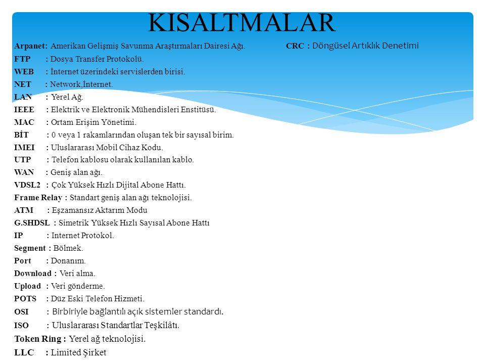 KISALTMALAR Token Ring : Yerel ağ teknolojisi. LLC : Limited Şirket