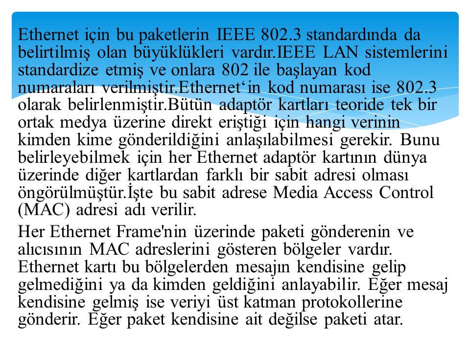 Ethernet için bu paketlerin IEEE 802
