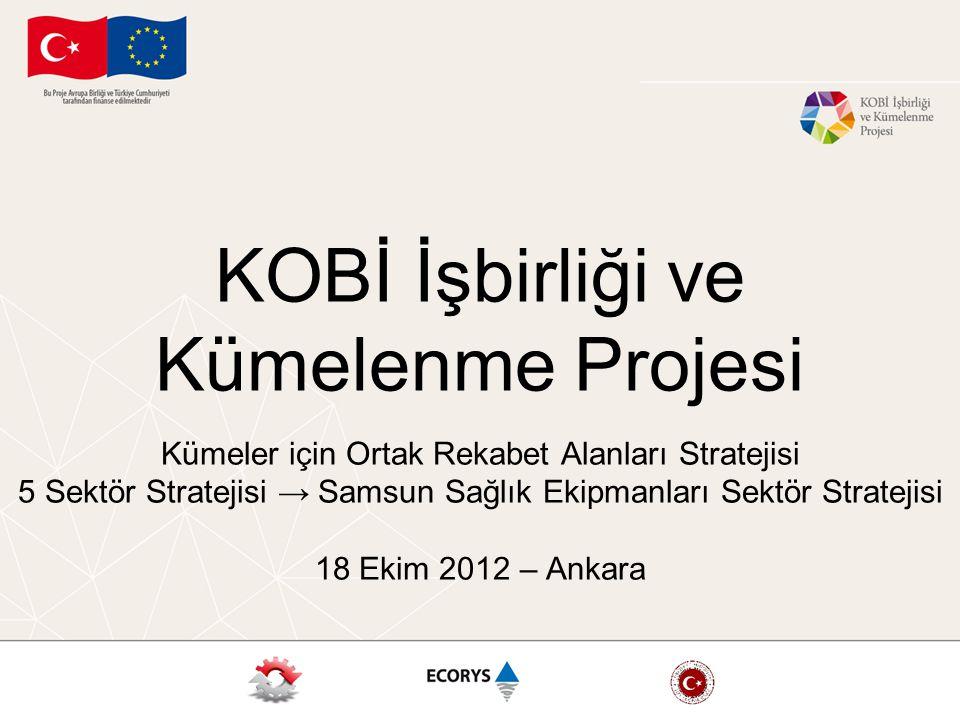 KOBİ İşbirliği ve Kümelenme Projesi Kümeler için Ortak Rekabet Alanları Stratejisi 5 Sektör Stratejisi → Samsun Sağlık Ekipmanları Sektör Stratejisi 18 Ekim 2012 – Ankara