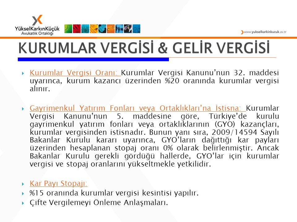 KURUMLAR VERGİSİ & GELİR VERGİSİ