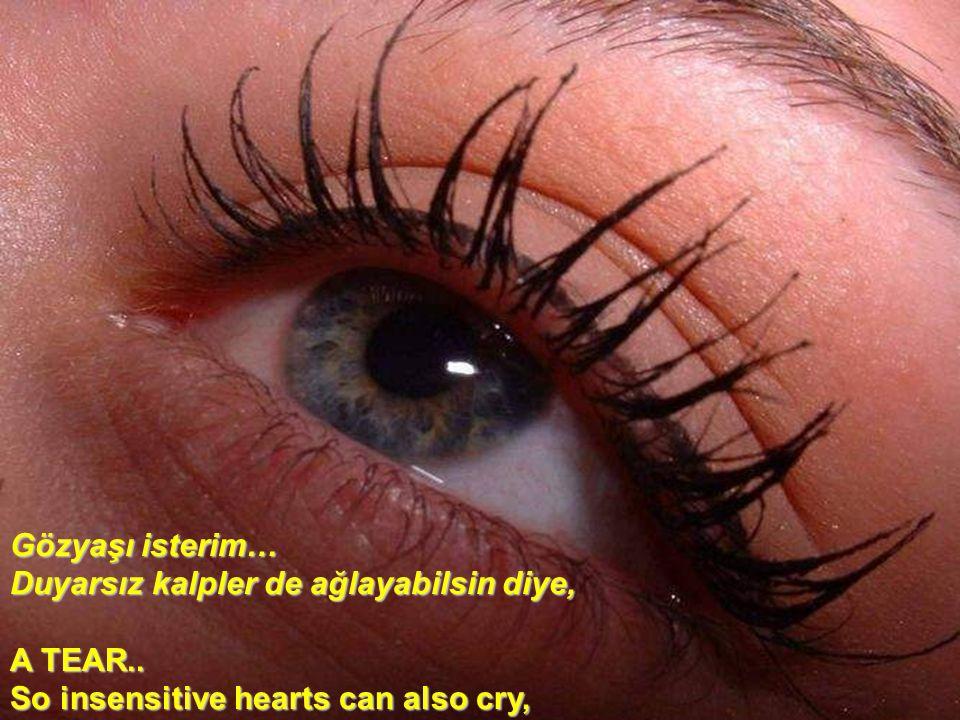 Gözyaşı isterim… Duyarsız kalpler de ağlayabilsin diye, A TEAR..