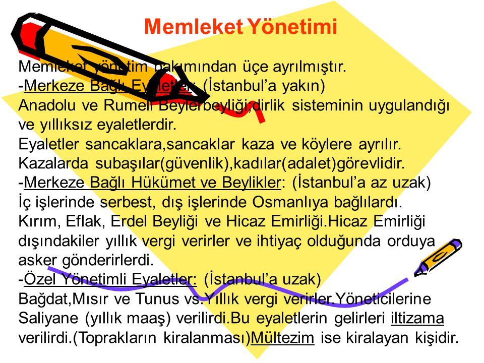 Memleket Yönetimi Memleket yönetim bakımından üçe ayrılmıştır.