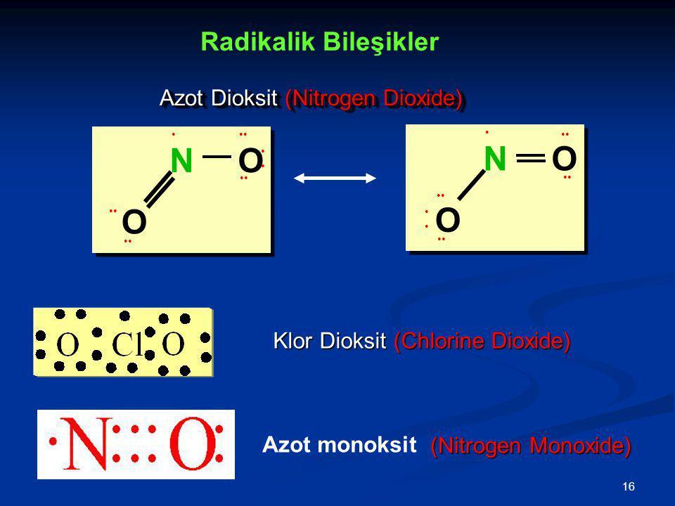N O N O O O Radikalik Bileşikler Azot Dioksit (Nitrogen Dioxide)