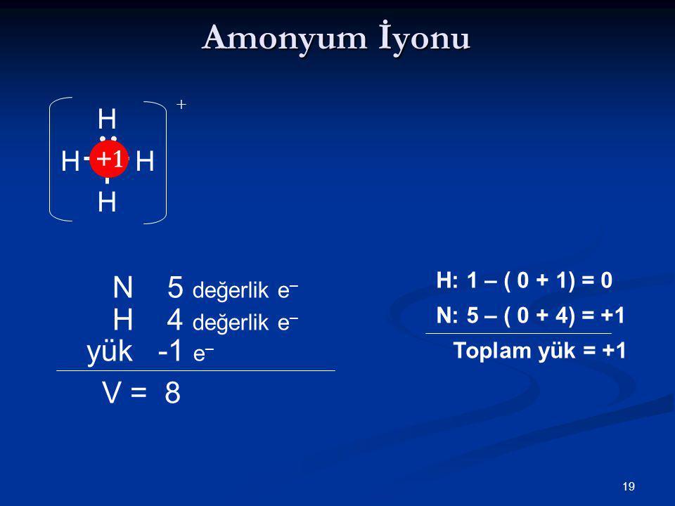 Amonyum İyonu N 5 değerlik e– H 4 değerlik e– yük -1 e– V = 8 N H +1 •