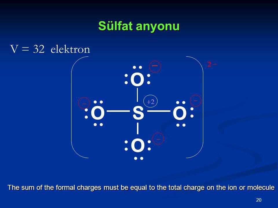 .. : S O .. : .. : .. : Sülfat anyonu V = 32 elektron _ 2 - _ _ +2 _