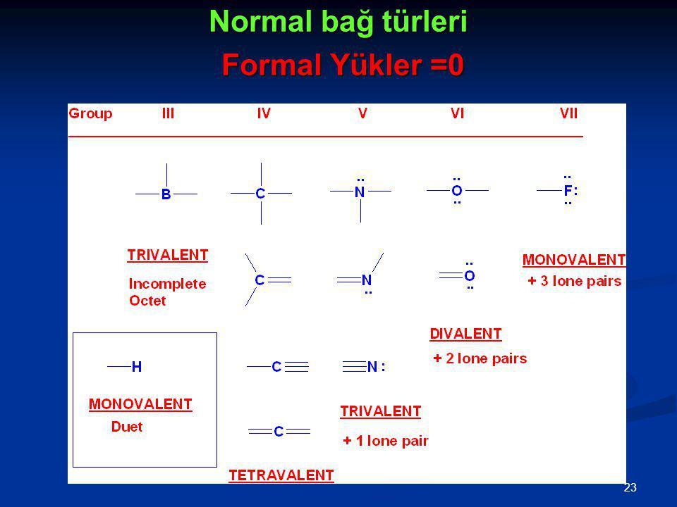 Normal bağ türleri Formal Yükler =0