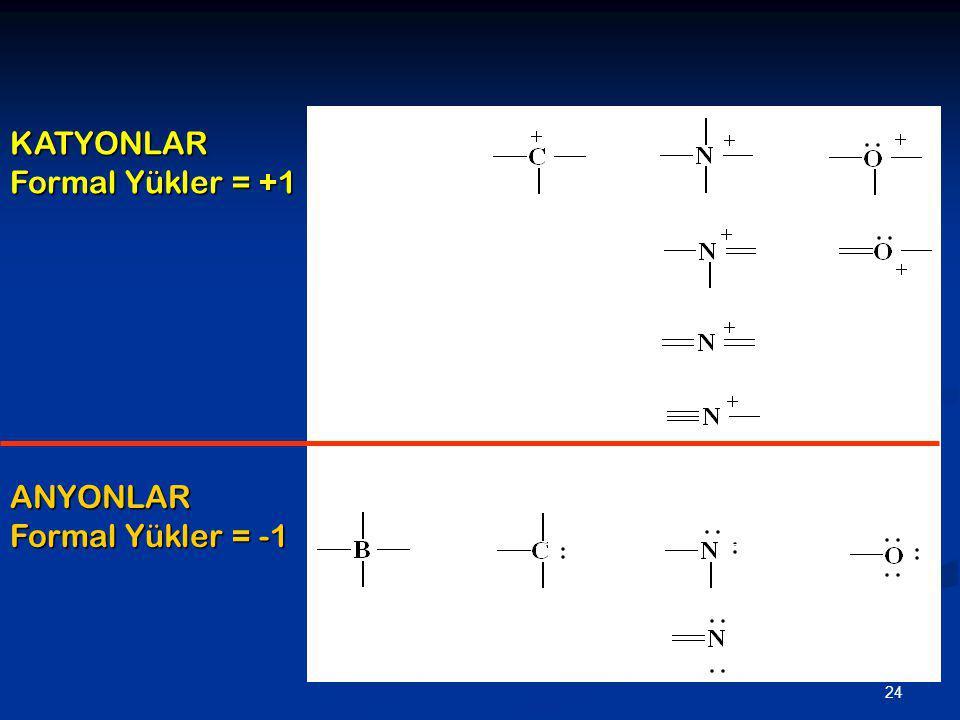 KATYONLAR Formal Yükler = +1 ANYONLAR Formal Yükler = -1 _ _ _ _