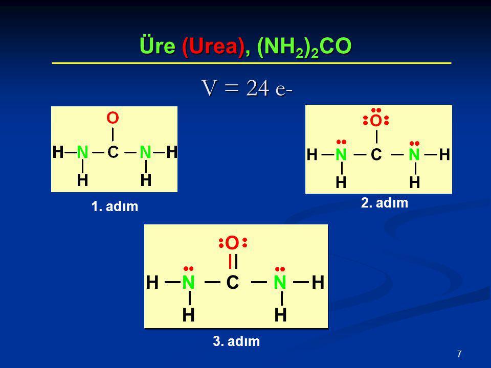 V = 24 e- Üre (Urea), (NH2)2CO O H N C N H H H O H N C N H H H 2. adım