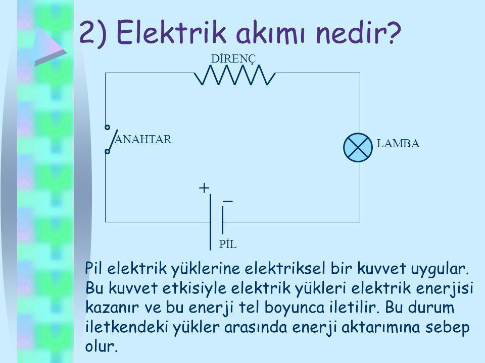 2) Elektrik akımı nedir + _