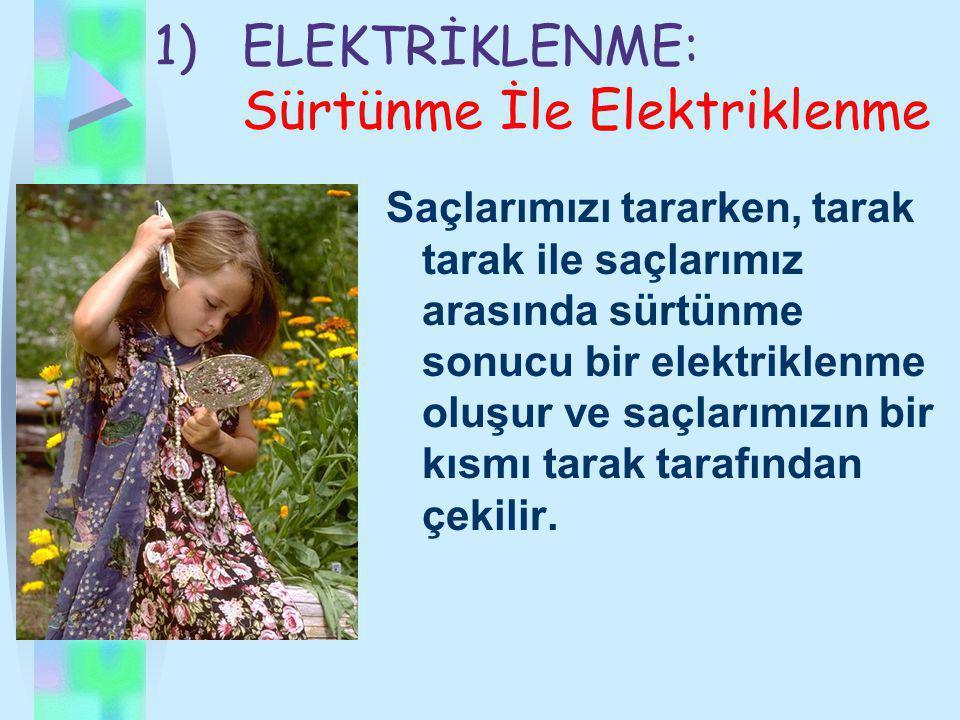 ELEKTRİKLENME: Sürtünme İle Elektriklenme