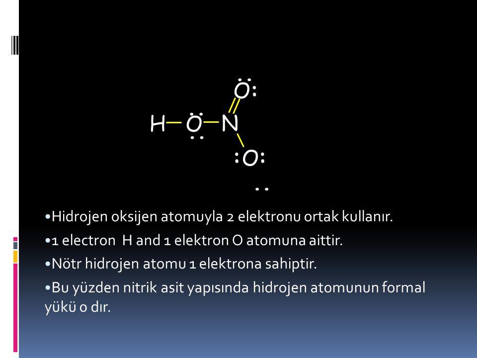 : .. H O N .. Hidrojen oksijen atomuyla 2 elektronu ortak kullanır.