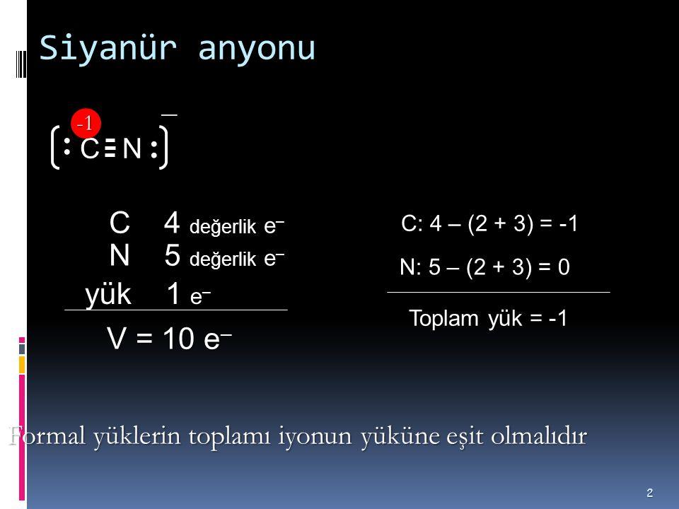 Siyanür anyonu − C 4 değerlik e– N 5 değerlik e– yük 1 e– C N