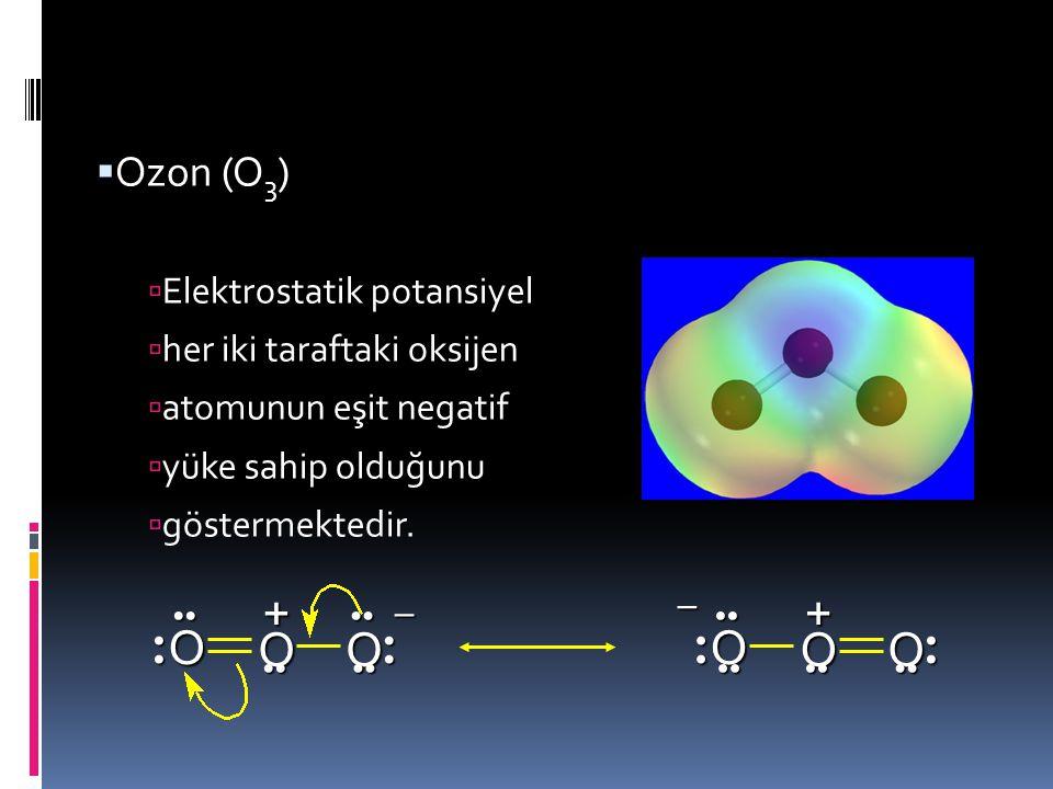 O + O + Ozon (O3) Elektrostatik potansiyel her iki taraftaki oksijen