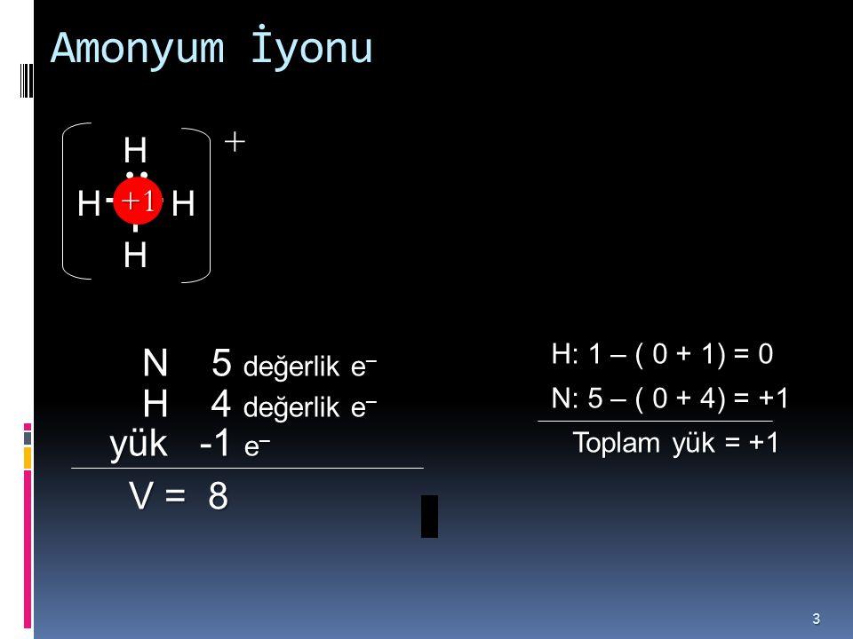 Amonyum İyonu + N 5 değerlik e– H 4 değerlik e– yük -1 e– V = 8 N H +1