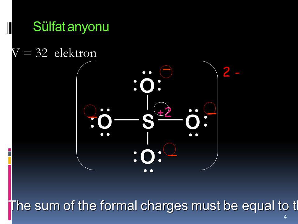 .. : S O .. : .. : .. : Sülfat anyonu V = 32 elektron 2 - _ _ +2 _