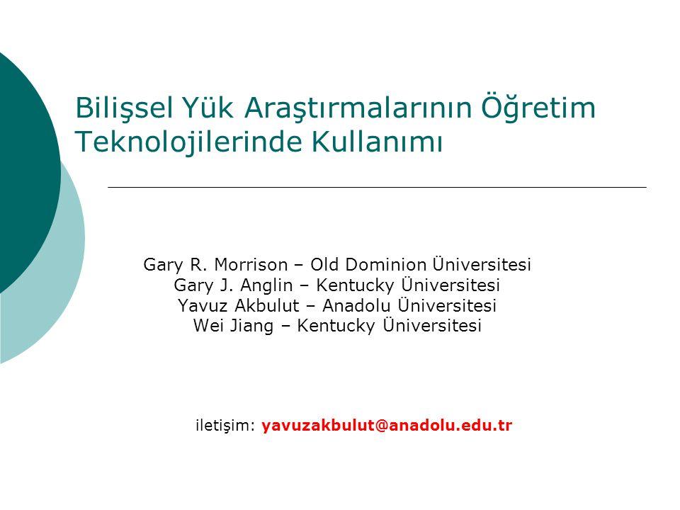 Bilişsel Yük Araştırmalarının Öğretim Teknolojilerinde Kullanımı