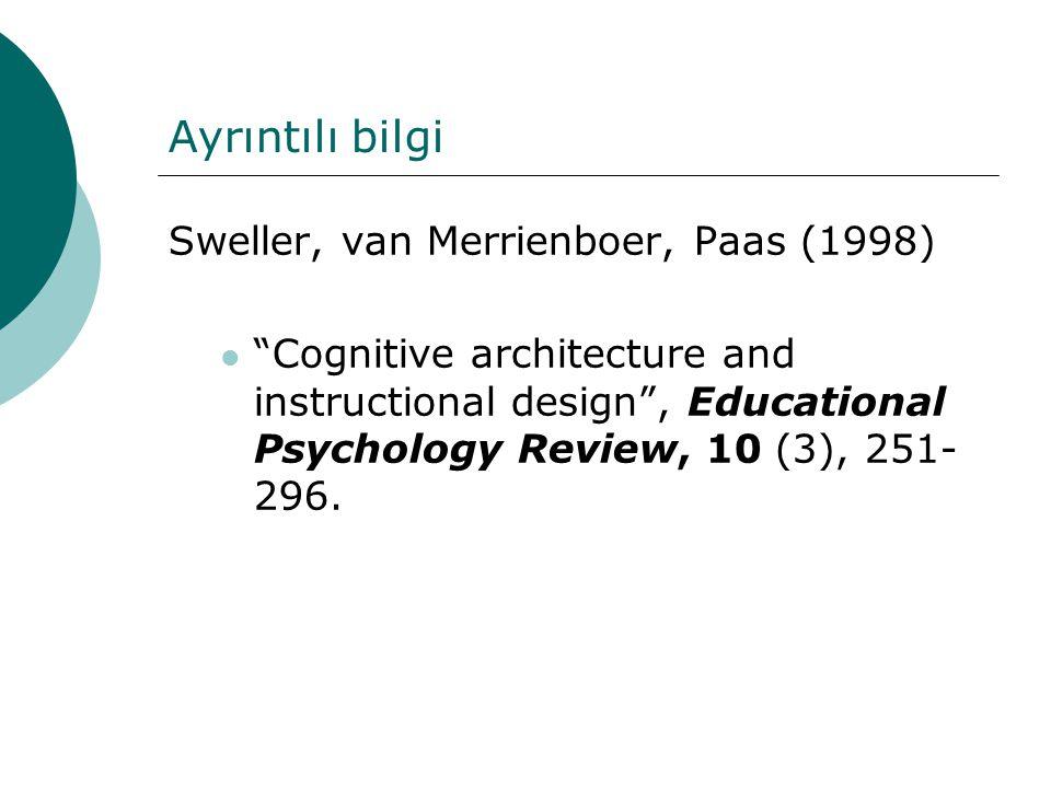 Ayrıntılı bilgi Sweller, van Merrienboer, Paas (1998)